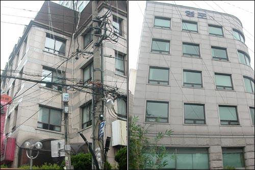 이명박 후보가 소유한 서울 서초구 양재동 12-7 번지의 영일빌딩(왼쪽)과 서초동 1709-4 번지의 영포빌딩. 두 빌딩은 이 후보가 대표로 있는 대명기업과 대명통상에서 관리하고 있다. 이명박 후보가 소유한 서울 서초구 양재동 12-7 번지의 영일빌딩(왼쪽)과 서초동 1709-4 번지의 영포빌딩. 두 빌딩은 이 후보가 대표로 있는 대명기업과 대명통상에서 관리하고 있다.